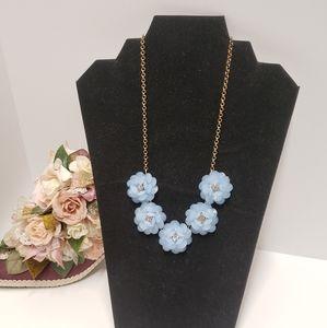 Gorgeous Baby Blue Flower Statement Necklace